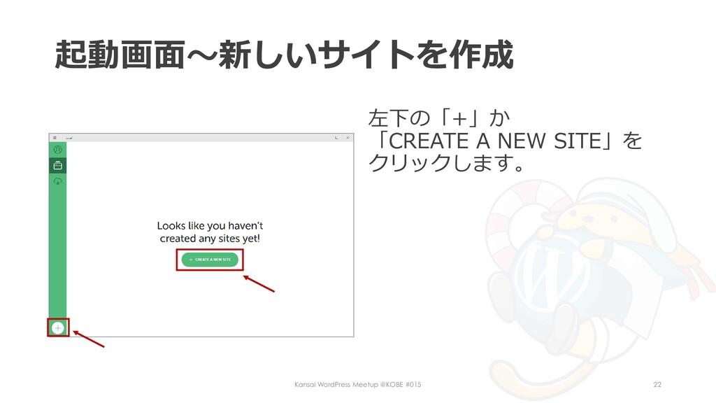 起動画面~新しいサイトを作成 左下の「+」か 「CREATE A NEW SITE」を クリッ...