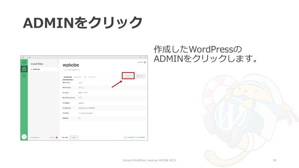 ADMINをクリック 作成したWordPressの ADMINをクリックします。 Kansai...