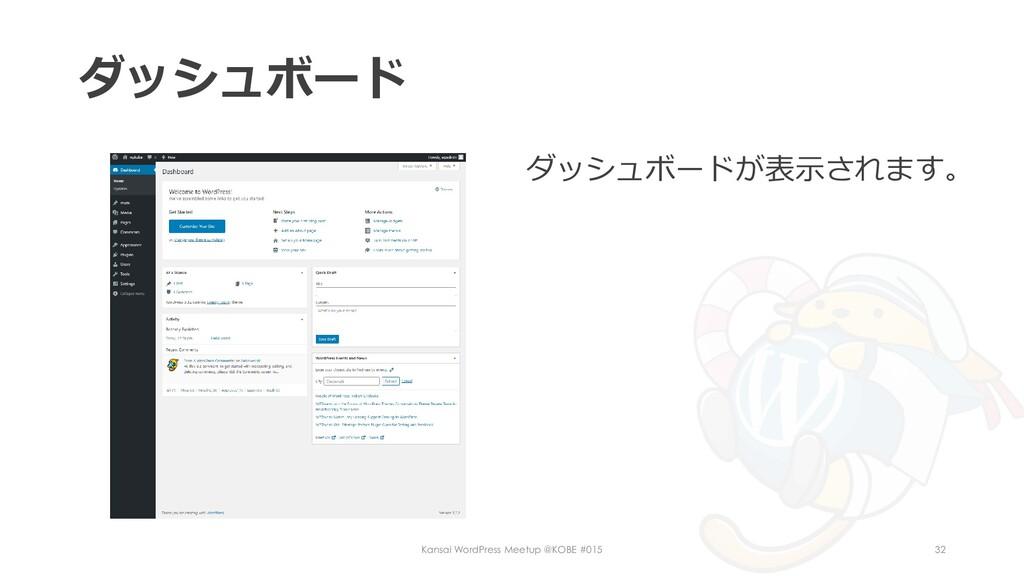 ダッシュボード ダッシュボードが表示されます。 Kansai WordPress Meetup...