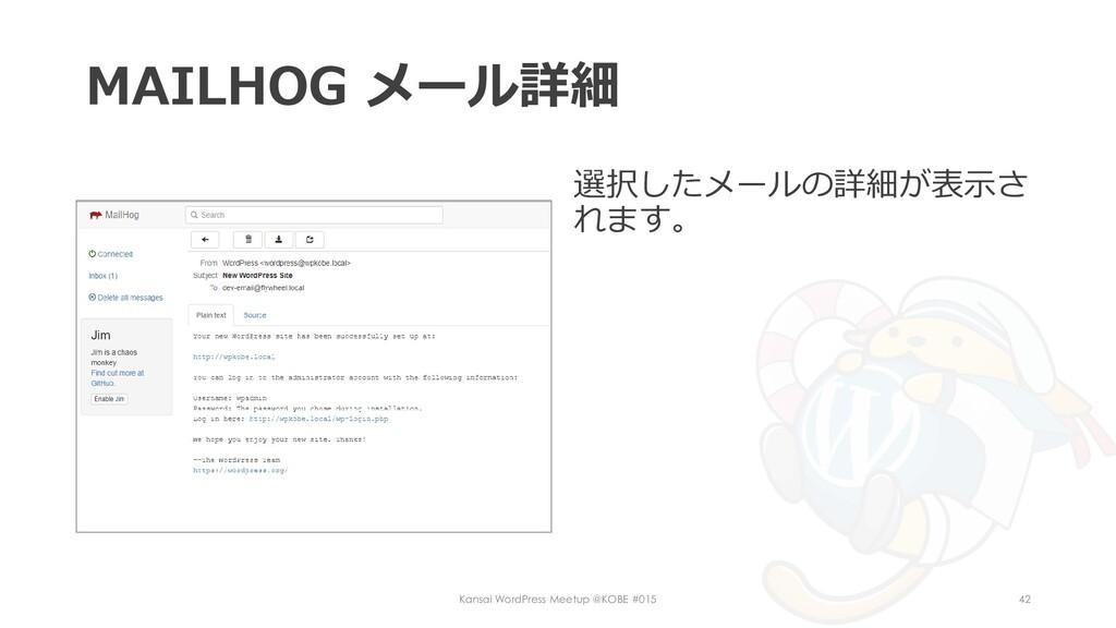 MAILHOG メール詳細 選択したメールの詳細が表示さ れます。 Kansai WordPr...