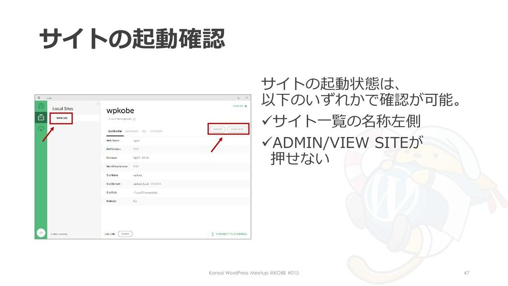 サイトの起動確認 サイトの起動状態は、 以下のいずれかで確認が可能。 ✓サイト一覧の名称左側 ...