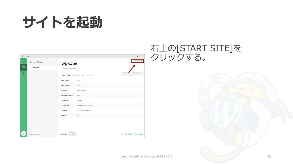 サイトを起動 右上の[START SITE]を クリックする。 Kansai WordPres...