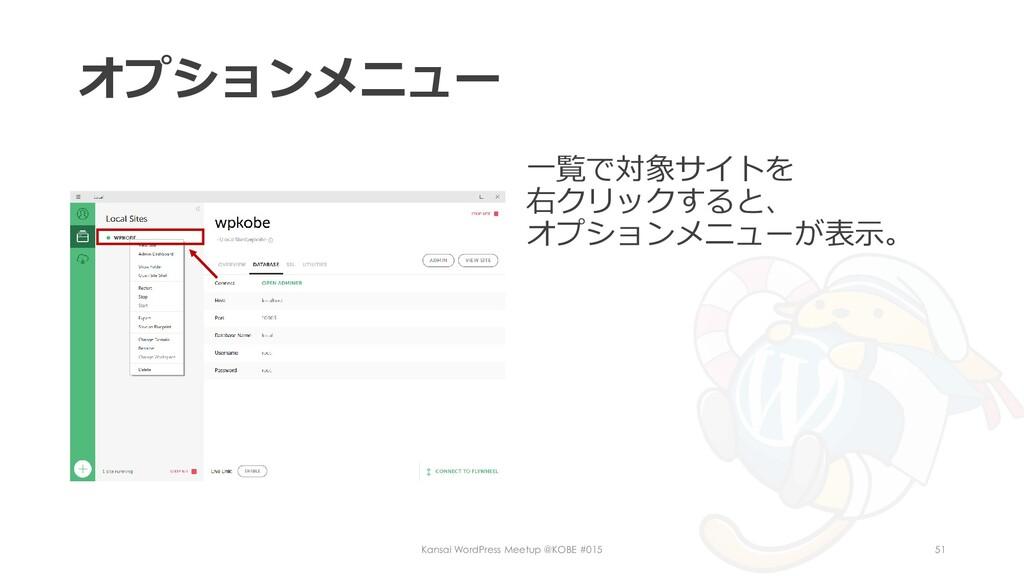オプションメニュー 一覧で対象サイトを 右クリックすると、 オプションメニューが表示。 Kan...