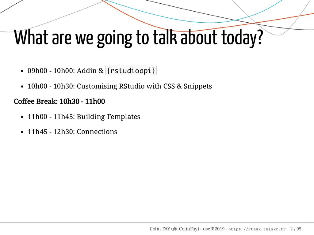 What are we going to talk about today? 09h00 - ...