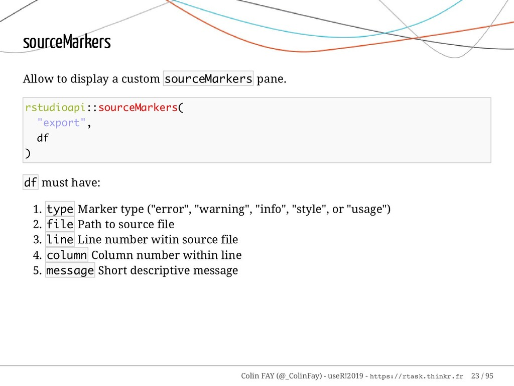 sourceMarkers Allow to display a custom sourceM...