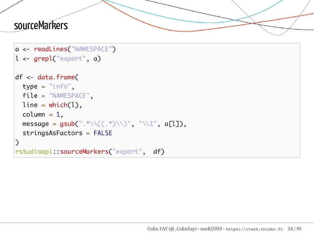 "sourceMarkers a <- readLines(""NAMESPACE"") l <- ..."