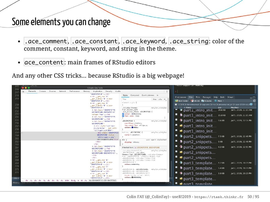 Some elements you can change .ace_comment, .ace...