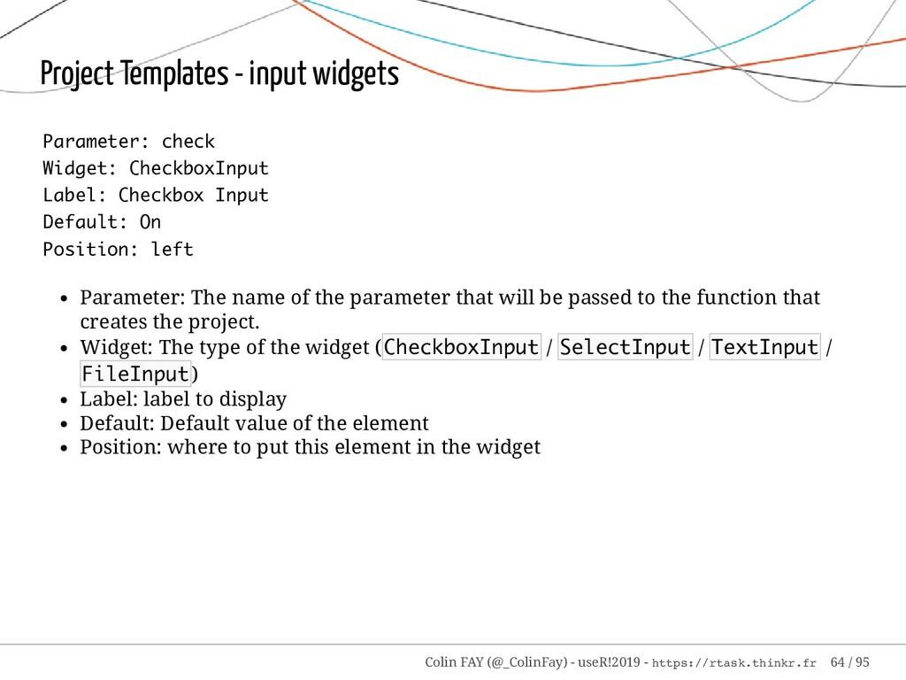 Project Templates - input widgets Parameter: ch...