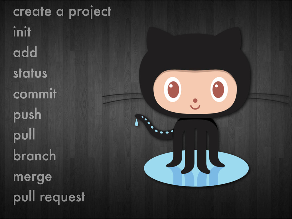 create a project init add status commit push pu...