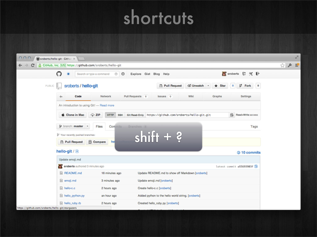 shortcuts shift + ?
