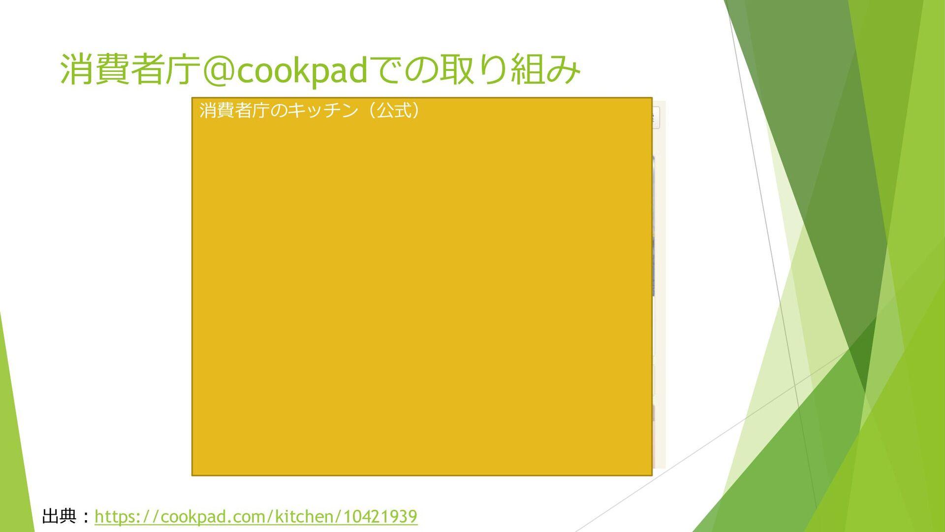 消費者庁@cookpadでの取り組み 出典:https://cookpad.com/kitch...