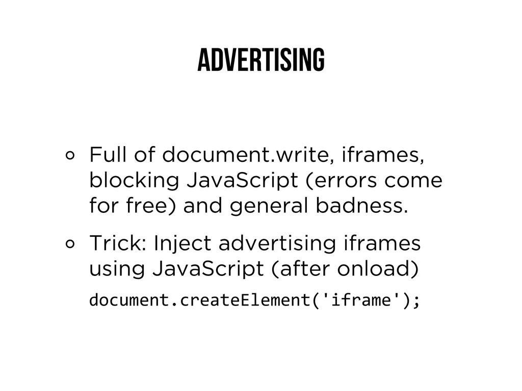 Advertising Full of document.write, iframes, bl...