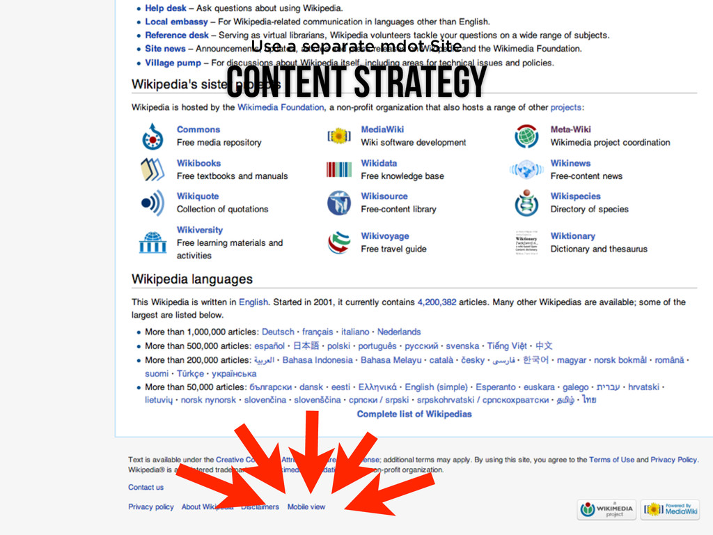 Content Strategy Use a separate mdot Site