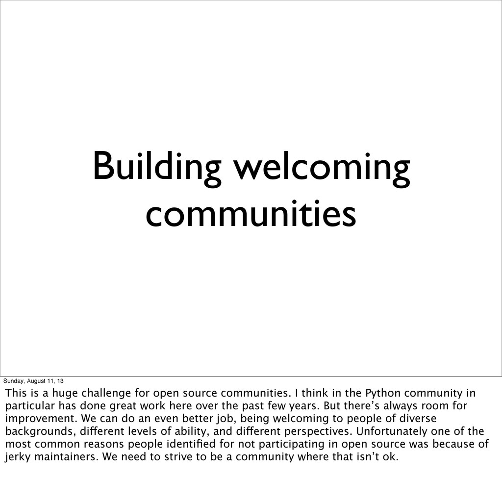 Building welcoming communities Sunday, August 1...
