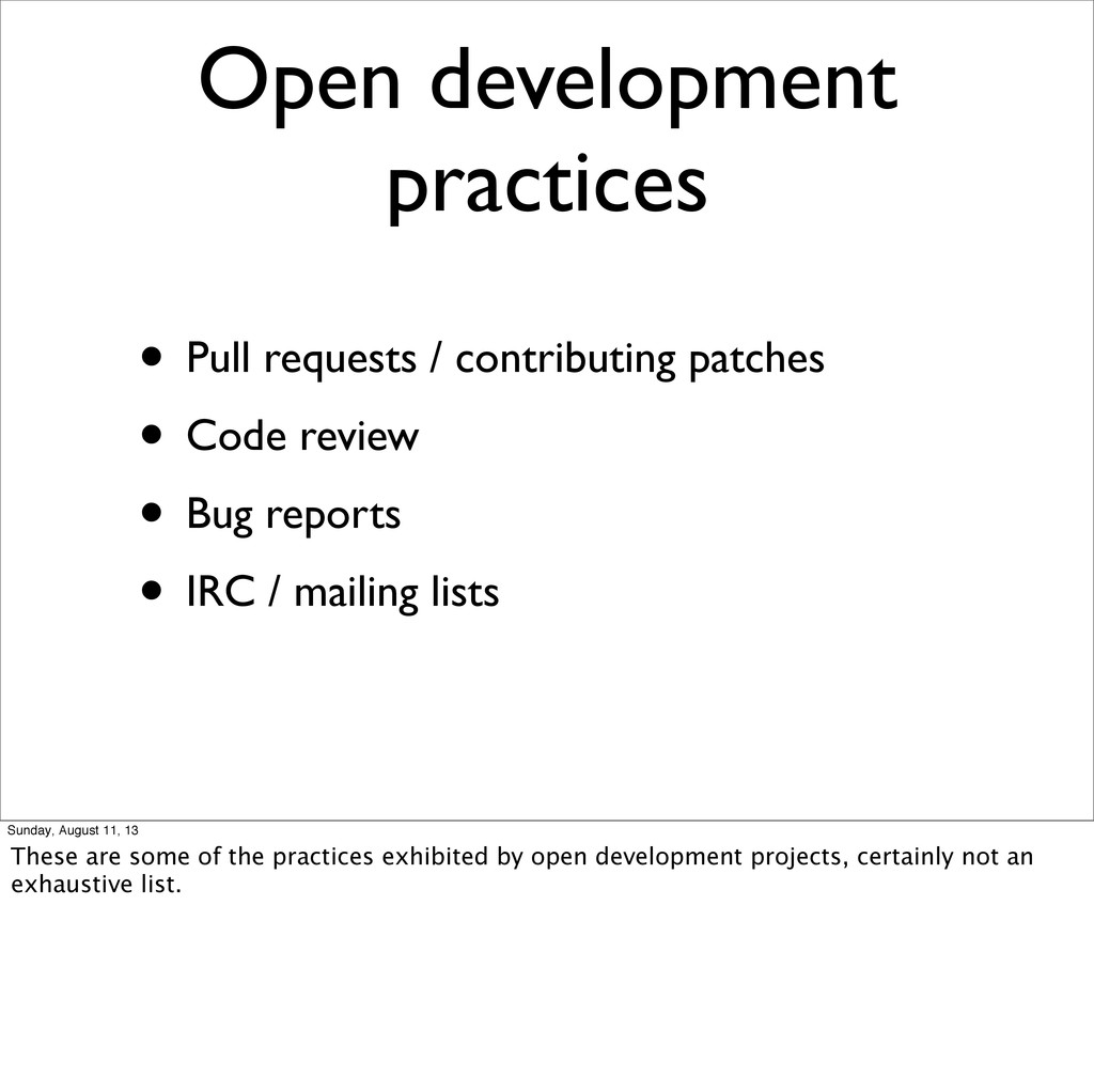 • Pull requests / contributing patches • Code r...