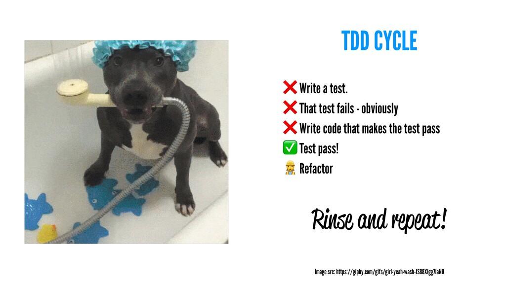 TDD CYCLE ❌ Write a test. ❌ That test fails - o...
