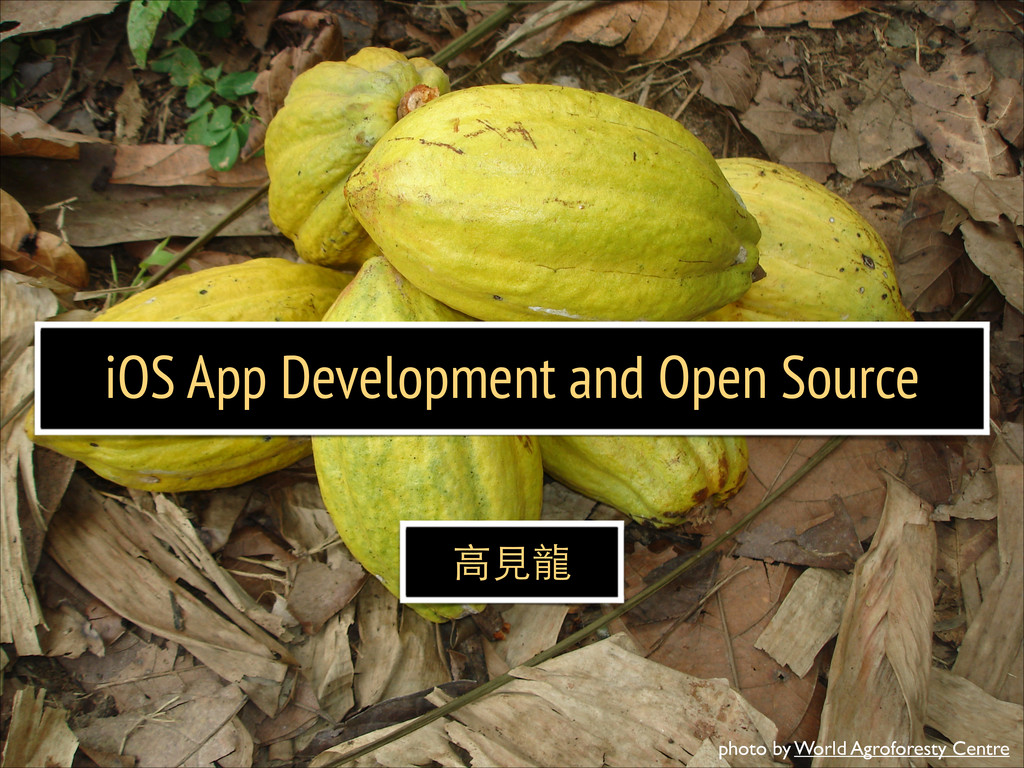 iOS App Development and Open Source ⾼高⾒見⻯⿓龍 pho...