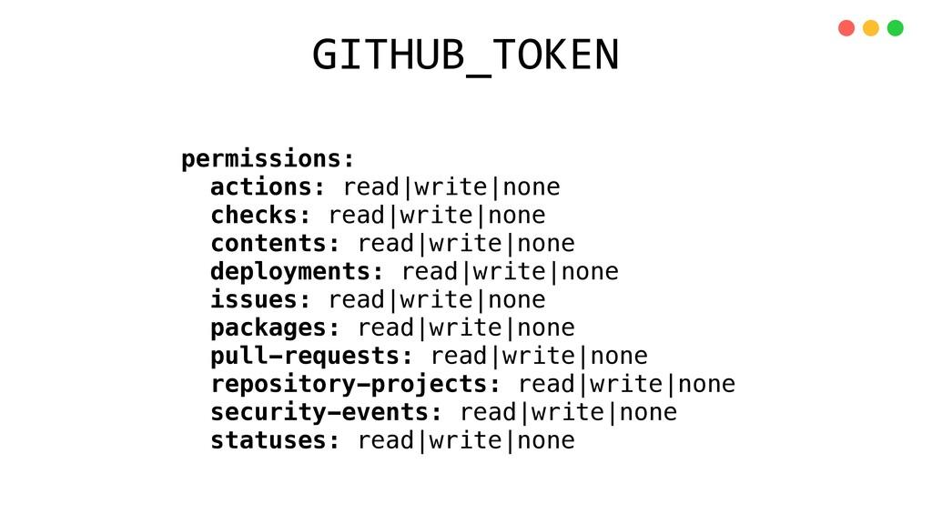 permissions: actions: read|write|none checks: r...
