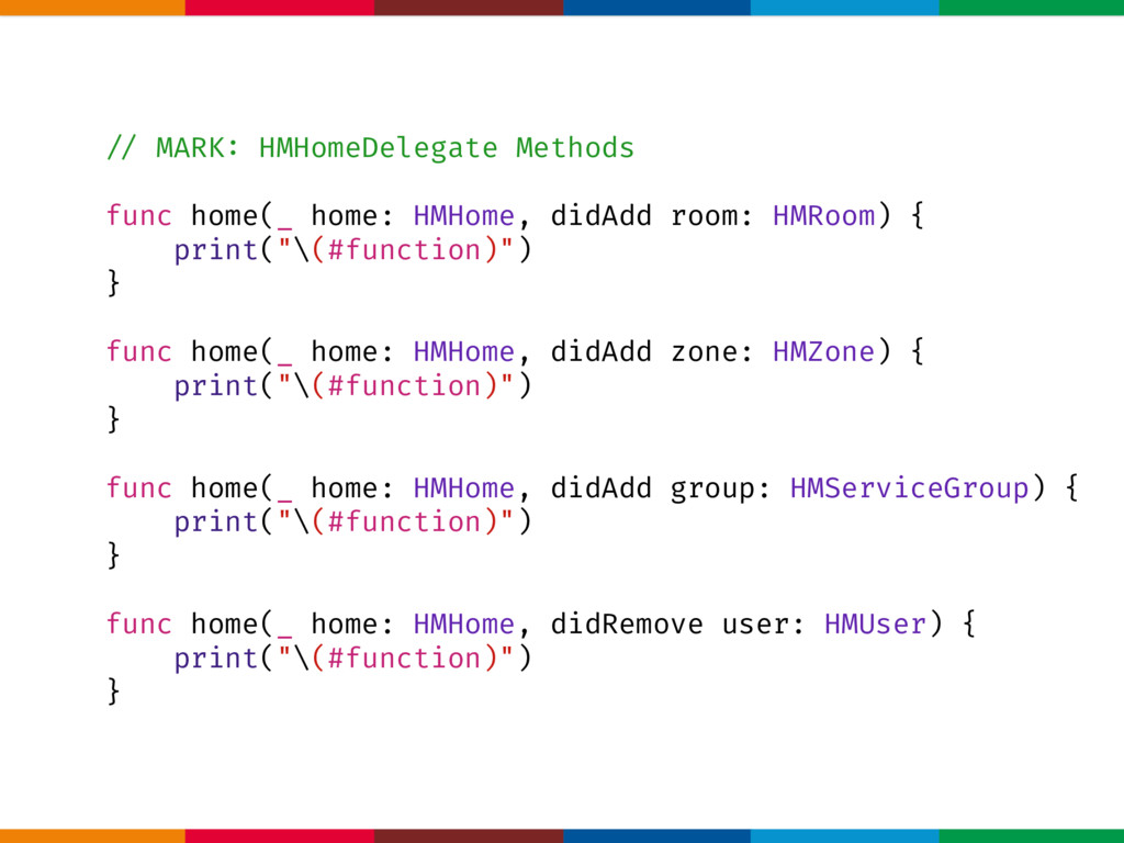 !// MARK: HMHomeDelegate Methods func home(_ ho...