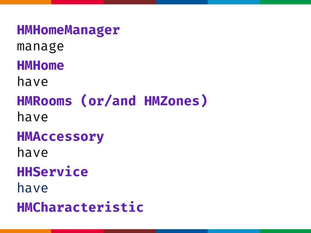 HMHomeManager manage HMHome have HMRooms (or/an...