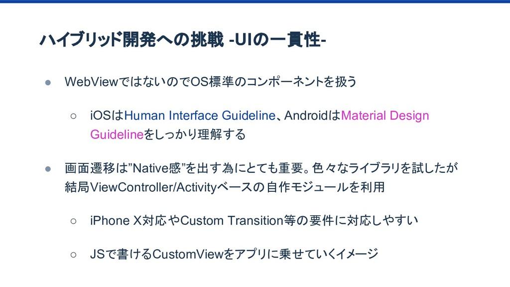 ハイブリッド開発への挑戦 -UIの一貫性- ● WebViewではないのでOS標準のコンポーネ...