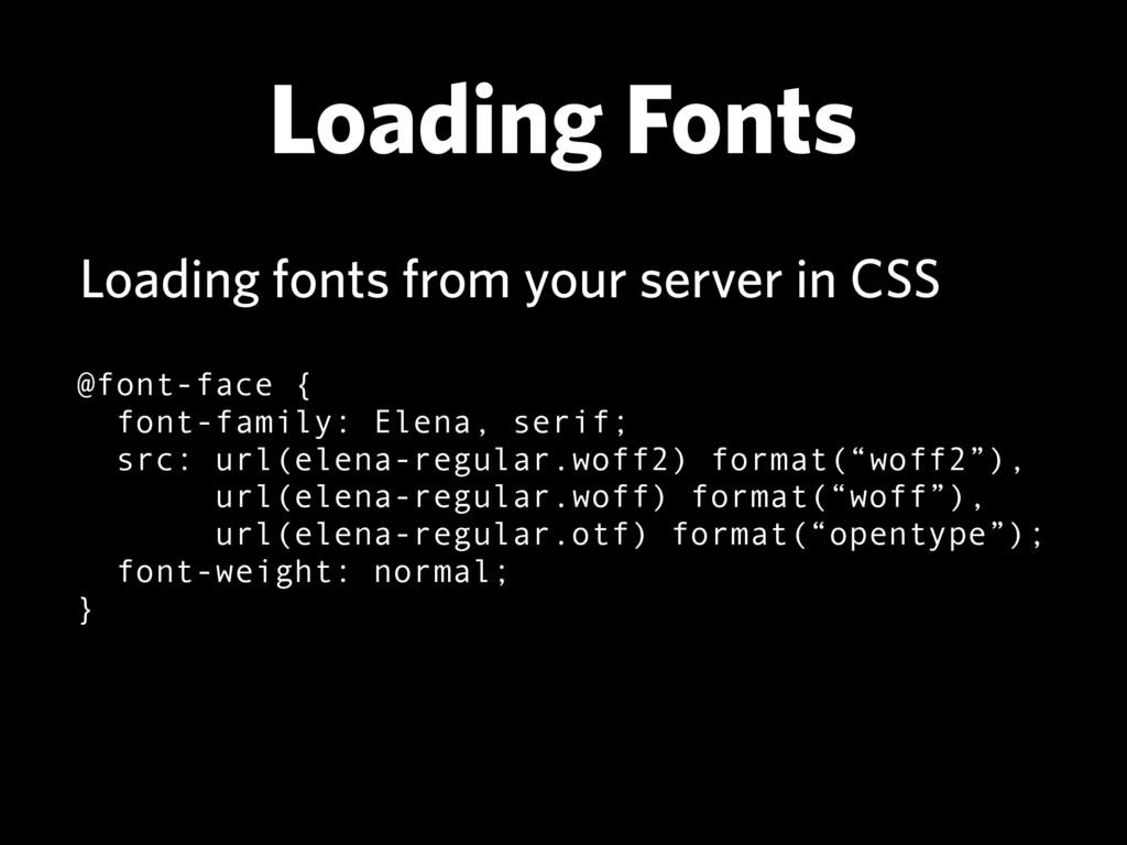 Loading Fonts @font-face { font-family: Elena,...