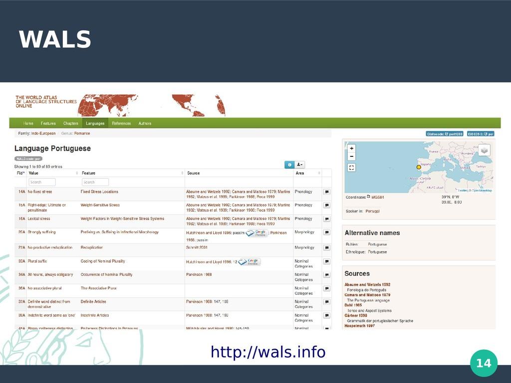 14 WALS http://wals.info