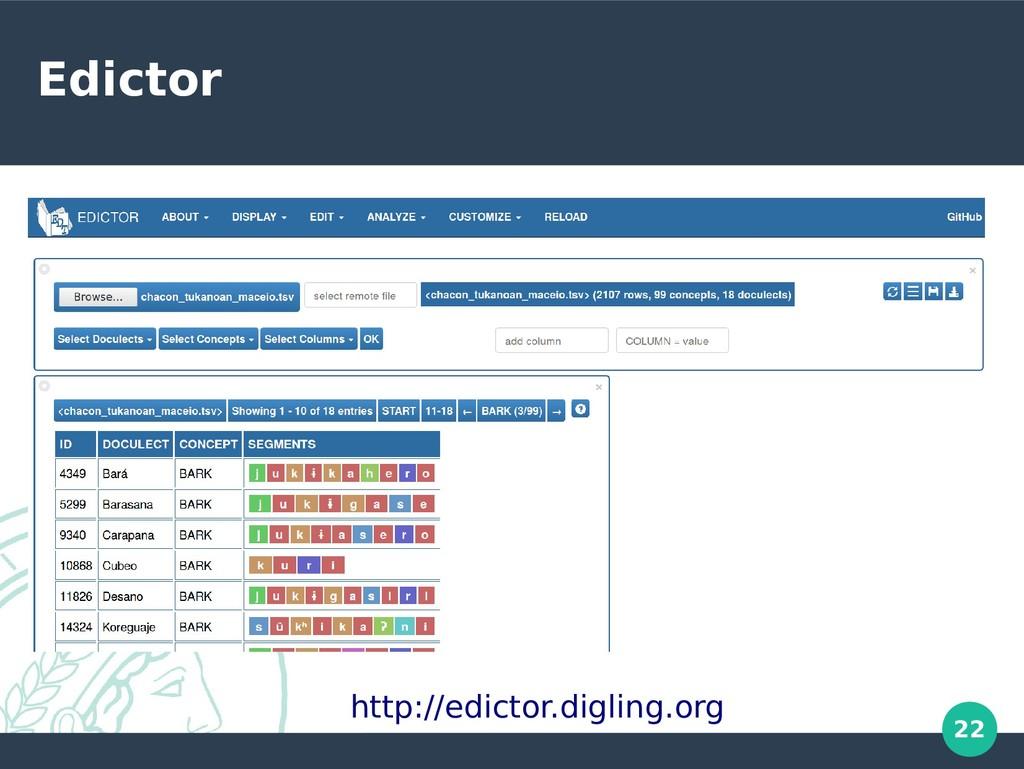 22 Edictor http://edictor.digling.org