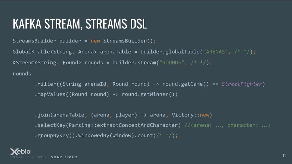 KAFKA STREAM, STREAMS DSL StreamsBuilder builde...
