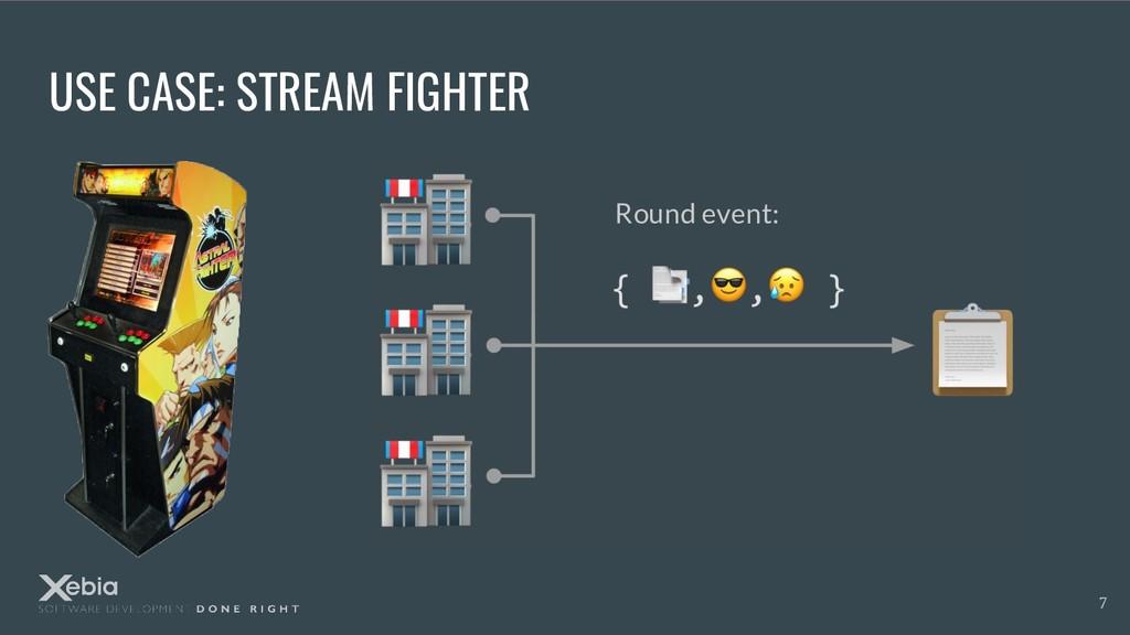 USE CASE: STREAM FIGHTER { , , } 7 Round event: