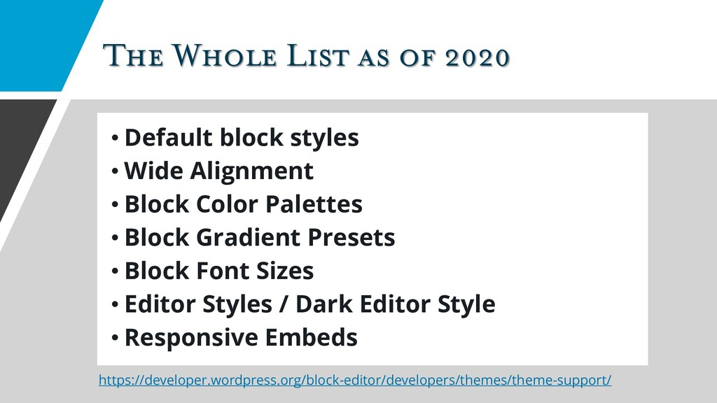 The Whole List as of 2020 • Default block style...