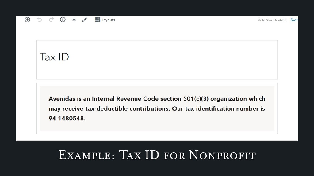 Example: Tax ID for Nonprofit