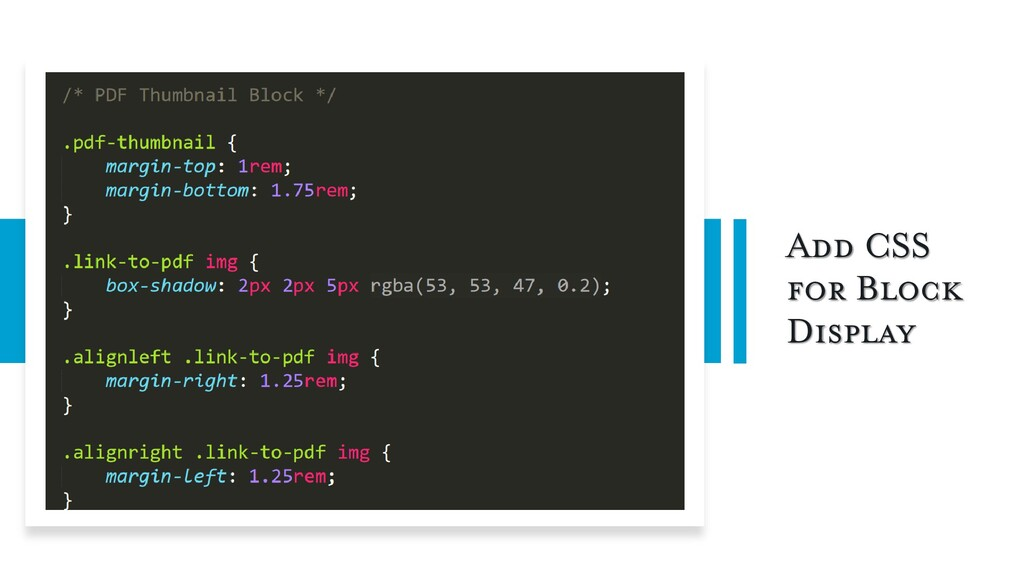 Add CSS for Block Display
