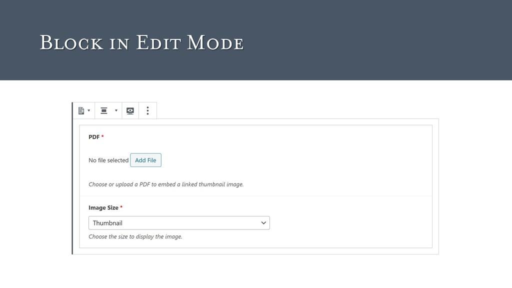 Block in Edit Mode