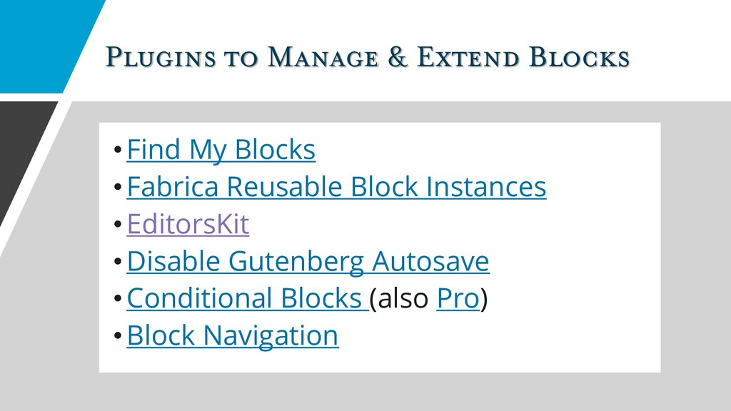 Plugins to Manage & Extend Blocks •Find My Bloc...