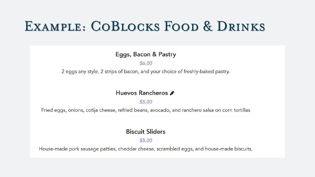Example: CoBlocks Food & Drinks