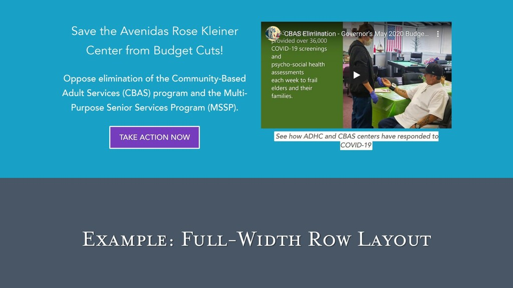 Example: Full-Width Row Layout
