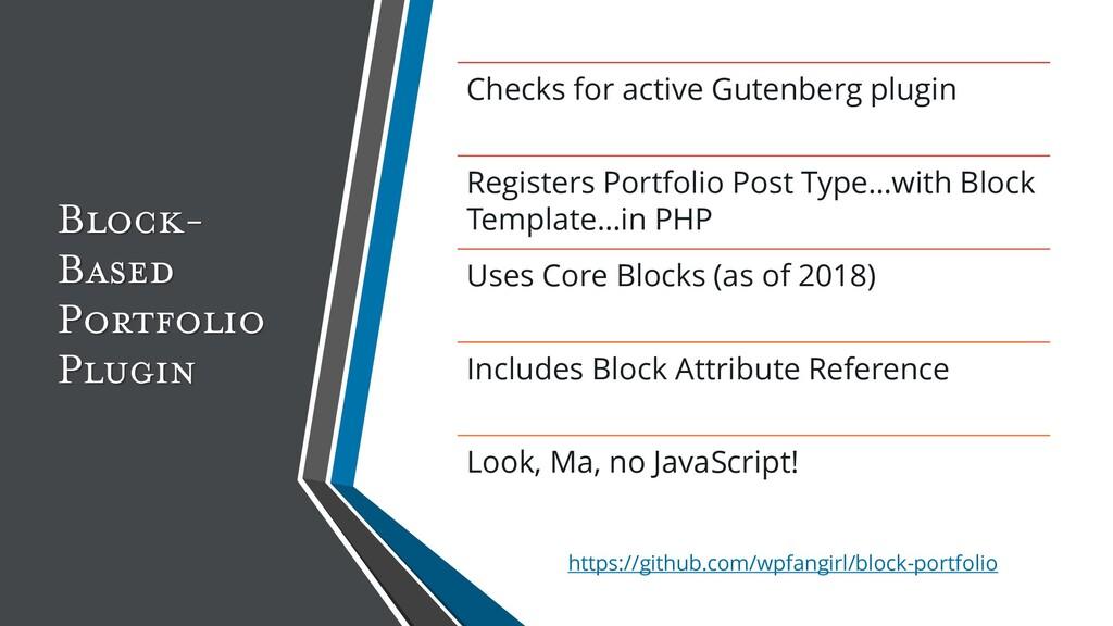 Block- Based Portfolio Plugin Checks for active...