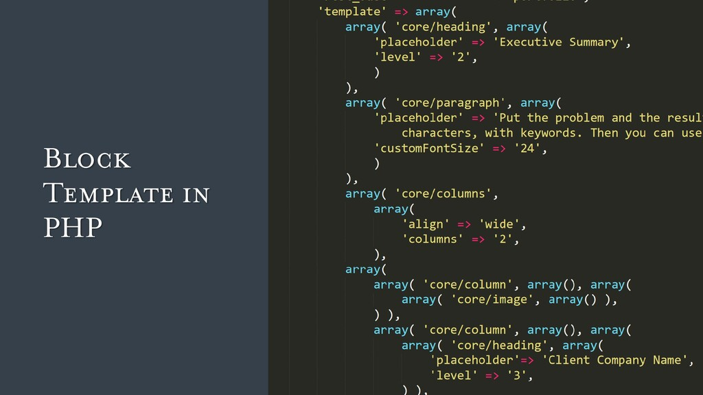 Block Template in PHP