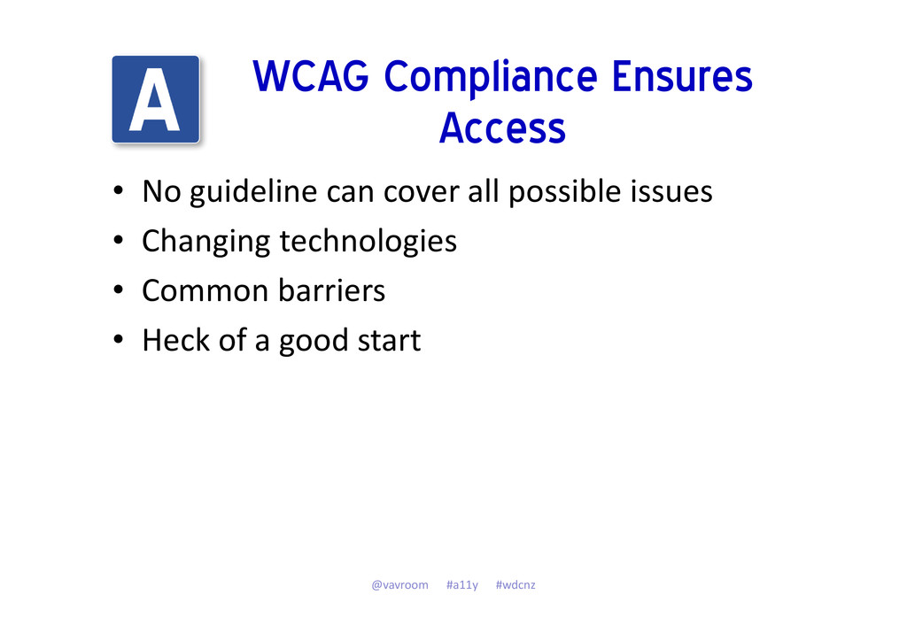WCAG Compliance Ensures Access • No guideline c...