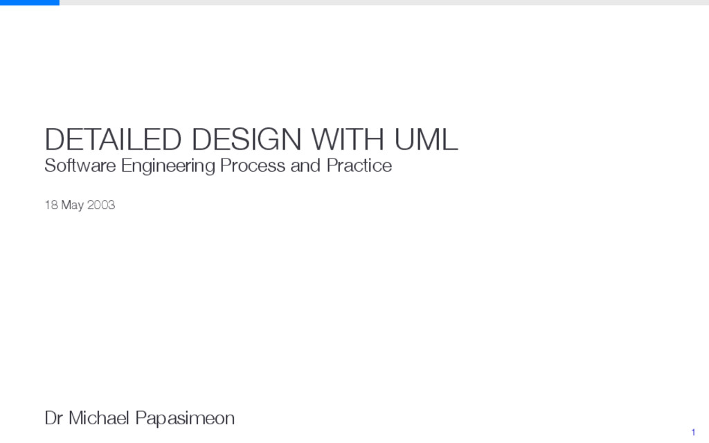 DETAILED DESIGN WITH UML Software Engineering P...