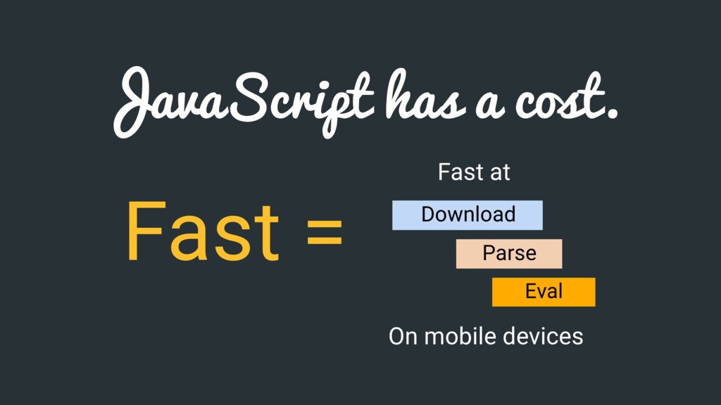 JavaScript has a cost. Fast = Fast at Parse Eva...