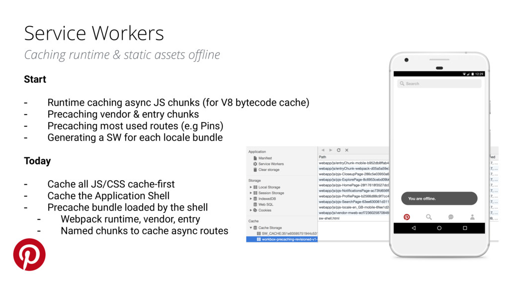 Service Workers Caching runtime & static assets...