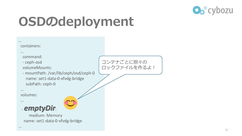 OSDのdeployment 11 … containers: … command: - ce...