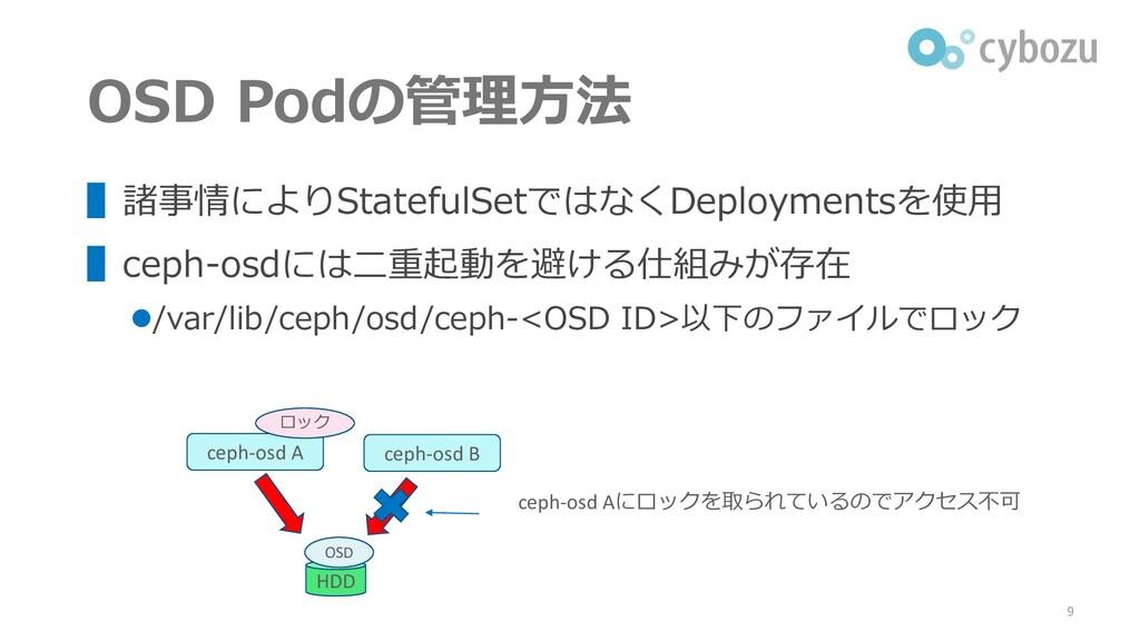 OSD Podの管理方法 ▌諸事情によりStatefulSetではなくDeploymentsを...