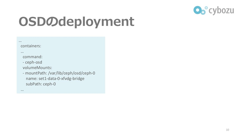 OSDのdeployment 10 … containers: … command: - ce...