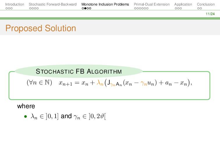 Introduction Stochastic Forward-Backward Monoto...