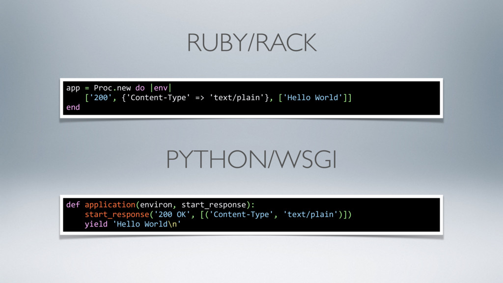 RUBY/RACK app = Proc.new do |env| ['200', {'Con...