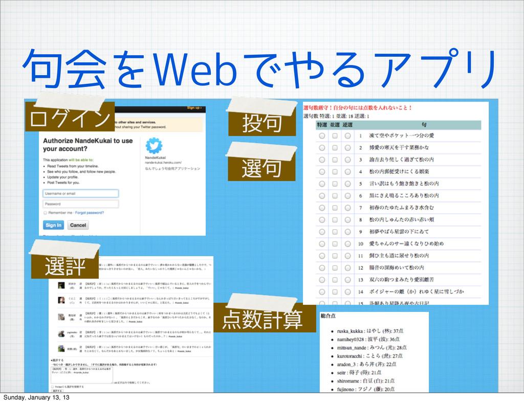句会をWebでやるアプリ ログイン 投句  選句  点数計算  選評  Sunday, Jan...