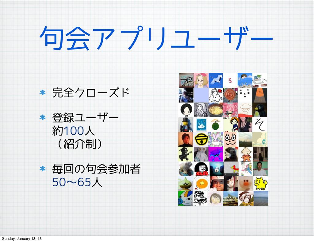 句会アプリユーザー 完全クローズド 登録ユーザー 約100人 (紹介制) 毎回の句会参加者 5...